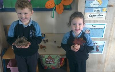 Conor brought in a nest. The eggs in it had already hatched. Sophia had red haws from the Hawthorn.