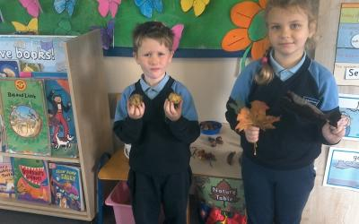 Max had conkers still in their skins. Oliwia had huge leaves that had changed colour.